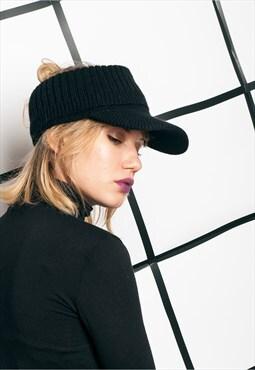 Vintage knit cap 90s black visor