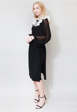 Vintage 1970's White Collar Black Sheer Midi Dress