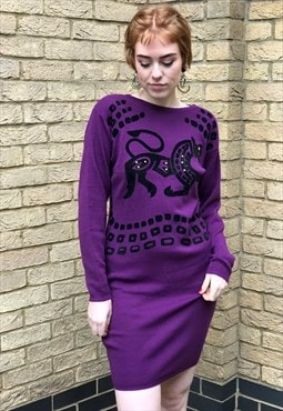 80s Vintage Purple Cozy Sweater Jumper Dress Tribal Moti
