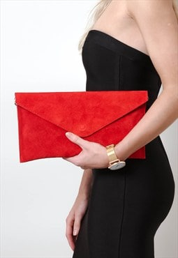 Red Suede Envelope Clutch Bag