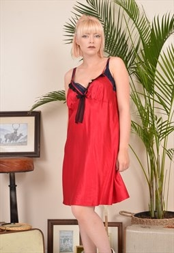 Vintage 90s Satin Lace Trim Slip Nightdress Red