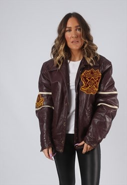 RARE Leather Jacket Bomber Oversized VARSITY UK 14 16 (CK7E)