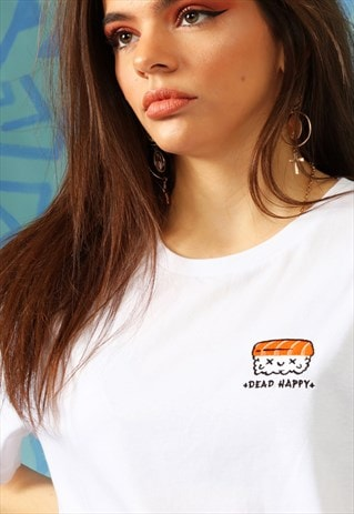TSHIRT IN WHITE ORGANIC COTTON WITH EMBROIDERED SUSHI LOGO