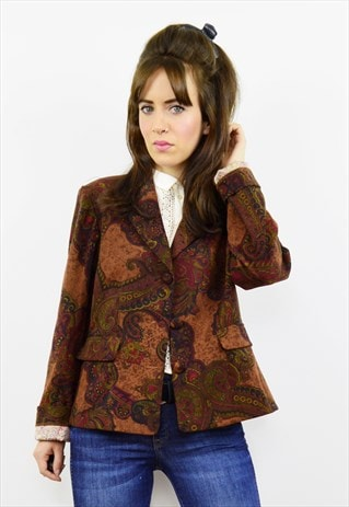 VINTAGE 90S DARK BROWN BOHO PAISLEY BLAZER JACKET