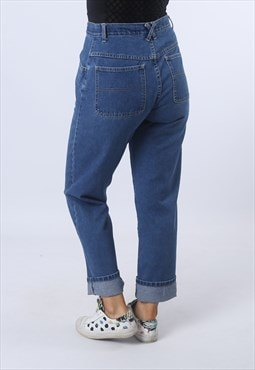 High Waisted Denim Jeans Tapered Leg Vintage UK 10 (G95A)