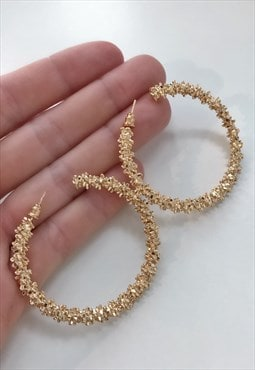 Gold Tinsel Effect Hoop Earrings