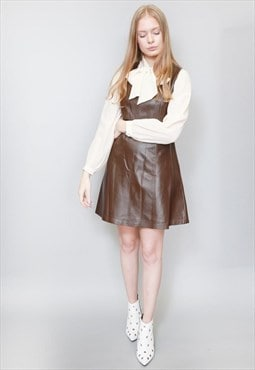 Vintage 1990's Brown Leather Mini Dress