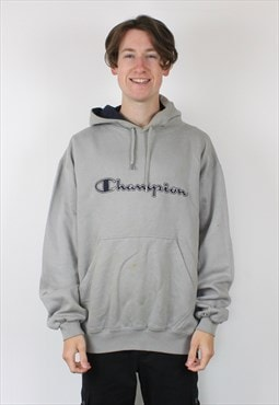 Vintage Champion Hoodie in Grey with Embroidered Spell Out