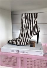 Vintage 90s Y2K Cow Hide Zebra Print Stiletto Pointy Boots