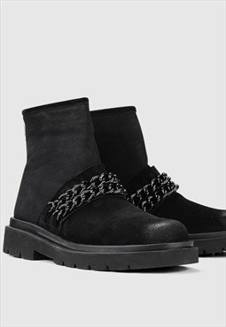 Small Platform metal chain boots black high ankle shoes