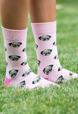 Pink Pug Dog animal funny and happy Socks for girl