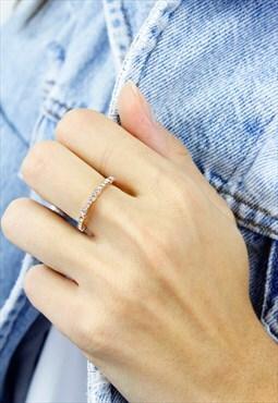 Rose Gold Diamante Rhinestone Eternity Ring