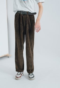 Vintage Relaxed Fit Wide Leg Corduroy Trousers in Moss Brown