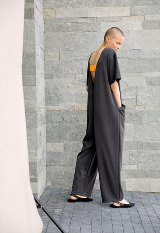 GREY OVERSIZED JUMPSUIT/ MAXI JUMPSUIT/ BACKLESS CLOTHING