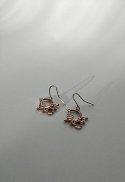 Y2k Dior Logo Earrings - Dior Rhinestone Monogram Spell Out