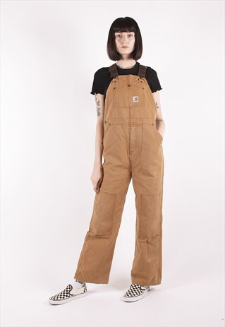 VINTAGE CARHARTT TAN BROWN RELAXED WORKER DUNGAREES /NN2256