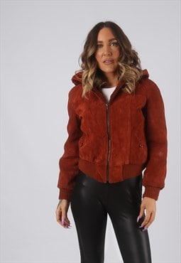 Suede Bomber Jacket Hooded Faux Sheepskin UK 6 - 8 (KDT)
