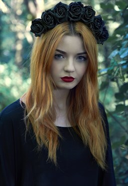 Black Flower Crown, Flower Crown, Floral Crown, Boho Hair