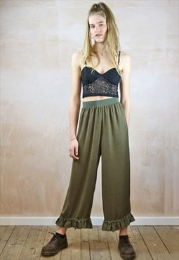 Cropped Trousers with Frills in Silky Green