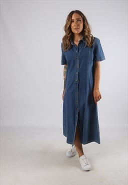 Vintage Denim Dress Shirt Style Long 90's UK 14 (H2D)