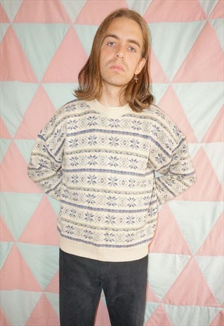 Vintage 90s Cream / Blue Fairisle Wool Christmas Jumper