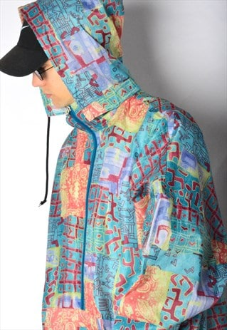 VINTAGE 90S COLOURFUL LIGHTWEIGHT SHELL HOODED JACKET