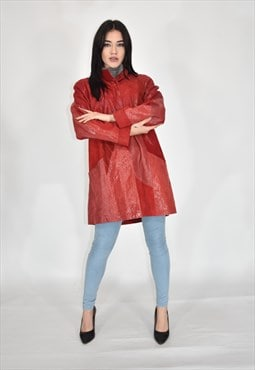 VINTAGE leather python long coat red elegant