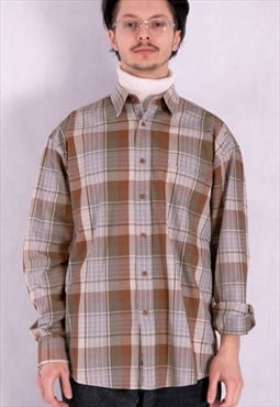 Vitage 90's checked mens grunge long sleeve shirt