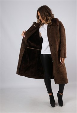 Sheepskin Suede Leather Shearling Coat UK 12 - 14  (HJ2V)