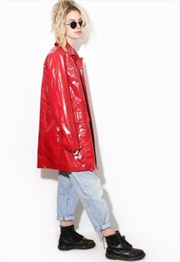 vintage RED PVC MAC raincoat TRENC 90's