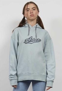 Vintage 90's Asics light blue logo hoodie