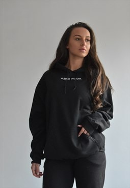 Black Oversized Hood With White Text Logo
