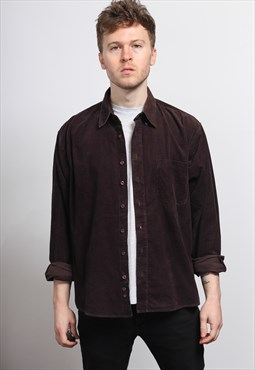 Vintage Corduroy Cord Shirt Brown