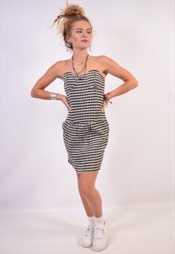 Vintage Moschino Streplass Dress Check Black