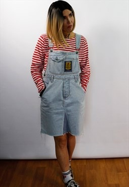 Vintage reworked denim dungaree dress