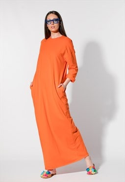 Orange dress/ Long Dress/ Casual dress/ Day dress/ Dress
