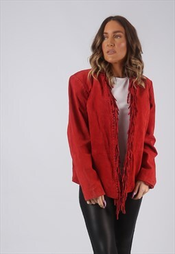 Suede Leather Fringe Tassel Jacket Coloured UK 12 (GWCI)