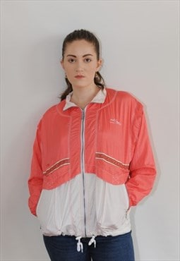 Womens Vintage 80s jacket pink festival zipper shell suit