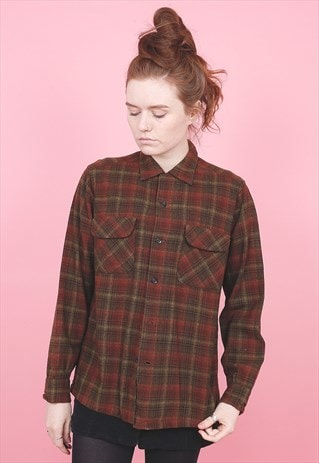 VINTAGE PENDLETON WOOL CHECK SHIRT /R8089