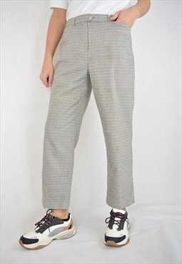 Vintage multicolour checkered straight trousers