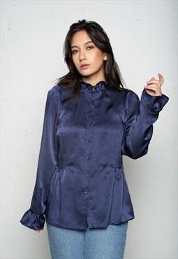 Dark Blue Shiny Blouse M