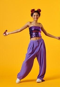 Vintage Purple Sequin Strapless Crop Top