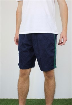 Vintage Cotton Japanese Basketball Shorts in Blue with Logo