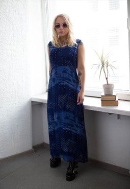 Vintage 80's Blue Patterned Double Layer Sleeveless Dress