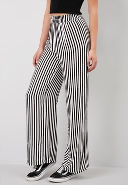 Striped pattern palazzo trousers - black and white