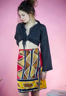 Y2k wraparound Mini skirt in a bold boho print