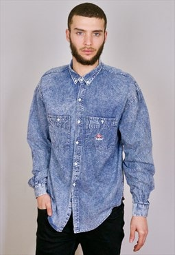 Vintage 90s Kappa Logo Denim Shirt Blue