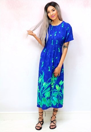 1980S VINTAGE BLUE AND GREEN MIDI DRESS