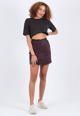Remade Plum Suede Short Skirt