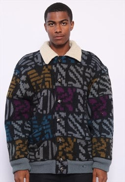 Vintage Missoni Sherpa Lined Pattern Knit Multi Colour